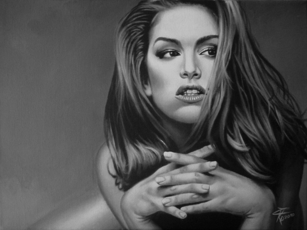 portrait of cindy crawford by wilf on stars portraits